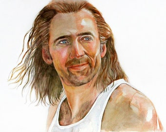 "Nicolas Cage, Print from Original Watercolor Portrait Painting, Con Air, Cameron Poe, ""Put The Bunny Back in the Box"""