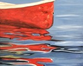 Red Canoe. Original oil painting. Linen canvas. Yvonne Wagner. Canoe. Cottage Art. 30 x 40 x 3/4 inch (76 x 102 cm) Free Shipping to USA.