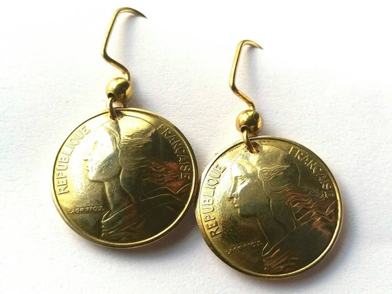 French Coin Earrings Gold Colored Jewelry Woman Birthday Gift for Her Christmas Gift for Her France Coin Earrings