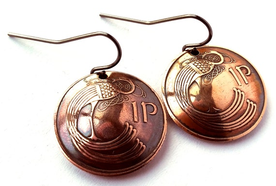 Ireland Coin Earrings Celtic Bird Copper Colored Jewelry Irish Woman Birthday Gift for Her Christmas Gift for Her