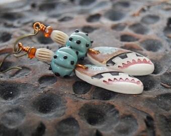 Southwestern Earrings, Ceramic Earrings, Teal Ivory Earrings, Boho Chic Earrings, Textural Earrings, Lampwork Glass Bead Earrings
