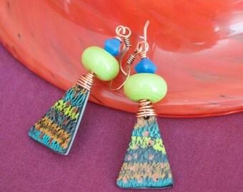 Triangle Earrings, Green Ikat Earrings, Polymer Clay Jewelry, Lampwork Glass Bead Earrings, Unique Artisan Earrings