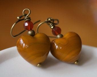 Heart Earrings, Lampwork Earrings, Glass Bead Earrings, Valentine Earrings, Burnt Ochre Earrings, Sweetheart Gift, Valentine's Day Jewelry