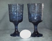 Set of 2 Libbey Cobalt Blue Facets Water Goblets / 1980s Blue Stemware / Set of Textured Deep Blue Wine Glasses / Vintage Blue Glasses