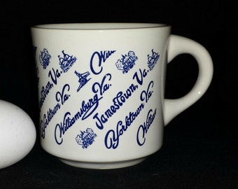 Virginia Souvenir Mug / Williamsburg VA Souvenir Mug / Yorktown Souvenir Mug / Jamestown Souvenir Mug / 1984 Colonial Virginia Vacation Mug