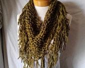 Olive knit chunky scarf Triangle bib scarflette Green acrylic fringe neckwarmer Tribal wrap Boho spring accessory Minimalist Southwest