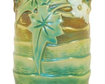 Roseville Pottery Luffa Green Vase 684-6