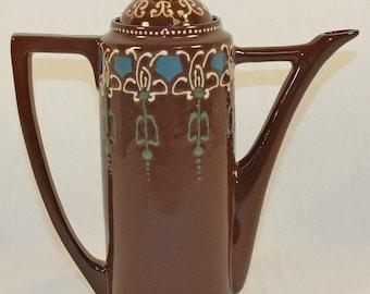 Roseville Pottery Aztec Brown Tea Pot With Lid