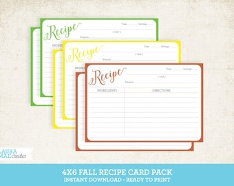4x6 Fall Recipe Card Pack - Green, Yellow & Orange Recipe Cards
