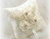 Ring Bearer Pillow,  Ivory, White, Cream, Wedding Pillow, Bridal,Lace, Brooch, Pearls, Crystals, Vintage, Gatsby, Elegant Wedding