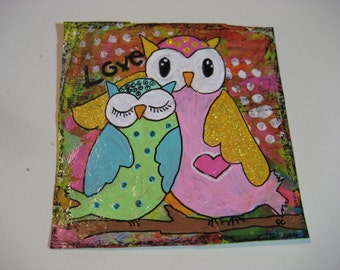 Original Mixed Media Artwork whimsical Mama and Baby Owl art for kids room decor or nursery art 4 x 4 inch Miniature