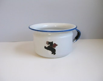 Vintage enamel cup with dog decal Blue and White enamel cup Metal enamel cup
