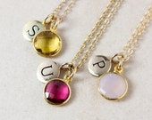 40 OFF SALE Gemstone Initial Charm Necklace - Choose Your Stone - Gold or Silver