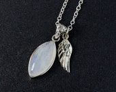 Rainbow Moonstone Necklace – Angel Wing Charm – 925 Sterling Silver