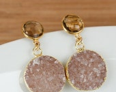 50% OFF SALE Gold Champagne Citrine Quartz and Light Champagne Druzy Earrings - Post Setting - Round Stone Earrings