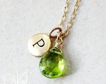 25% OFF Gold Green Peridot Necklace - August Birthstone - Initial Necklace