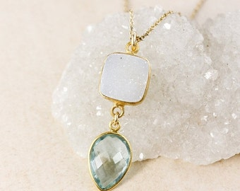 50% OFF White Druzy and Teal Quartz Necklace – 14K Gold Filled