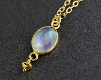 40 OFF SALE Oval Rainbow Moonstone Necklace - 14k Gold Filled Chain - Birthstone Necklace