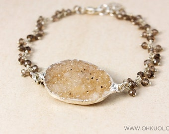 Brown Druzy and Smokey Quartz Bracelet – 925 Sterling Silver Findings