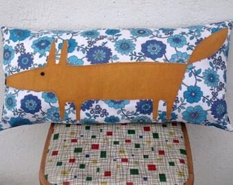 Mr Fox Blue Floral Vintage Fabric throw pillows