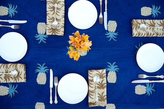 TABLE CLOTH blue indigo cotton indian block print rectangular boho boho table linens home decor kitchen dining linens holiday - Pineapple