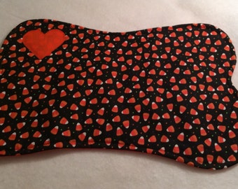 Halloween Large Dog Bone Placemat  Reversible Cotton Quilted Candy Corn