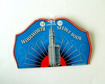 Needles - Hand Sewing - West Germany - Litho - Woolworth Building - Architecture - Collectible - Designer - Seamstress - Tailor