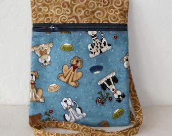Crossbody bag, Mini dog bag- Novelty dog print shoulder cell phone mini messenger bag- use while running, walking the dog, etc. KBD10127