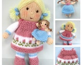 DOLLY ROSE and tiny doll - knitting pattern - Pdf instant download