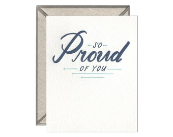 So Proud of You encouragement congratulations letterpress card