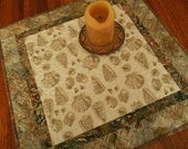 Seashell Table Topper in Brown and Cream Sepia Tones, Quilted Table Topper, Square Table Topper, Beach Decor, Quilted Tablecloth, Neutral