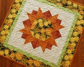 Sunflower Table Topper, Quilted Square Table Topper, Golden Yellow Sunflowers, Fall Table Mat, Quilted Tablecloth, Quiltsy Handmade