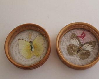 Vintage Bamboo Butterfly Coasters