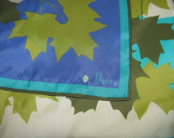 Vintage Rectangular Vera Neumann Ladybug Scarf - Blue, Green Fall Leaf/Leaves Design - Maple Leaves