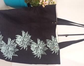 Linen Tote Bag - Block Printed Aloe Vera - Cactus - Fully Lined