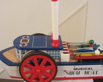 Tin Toy Musical Show Boat in Orginal Box Battery Operated Vintage, Musical Boat, Tin Toy, Battery Operated Boat, Musical Toy, Tin Toy Boat