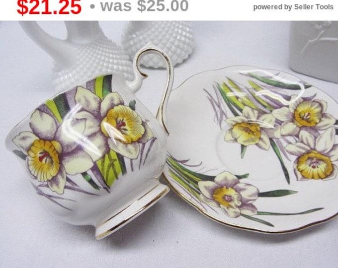 Royal Albert Bone China Hand Painted English Teacup and Saucer Daffodils