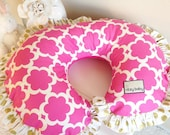 Hot Pink and Gold Polka Dot with Reverse Minky Nursing Pillow Cover
