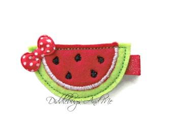 Watermelon Hair Clip, Red Watermelon Hair Clip, Girls Watermelon Hair Clip, Toddler Hair Clips, Summer Hair Clip, Red Felt Watermelon Clip