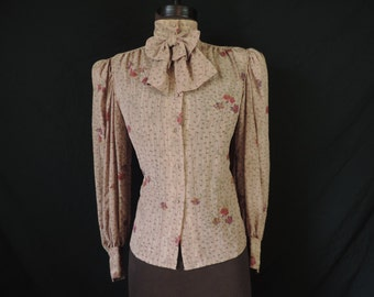 floral bow tie blouse 70s tan flower print jabot secretary top medium