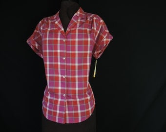 70s does 50s plaid blouse retro rockabilly button down plus size XL new old stock