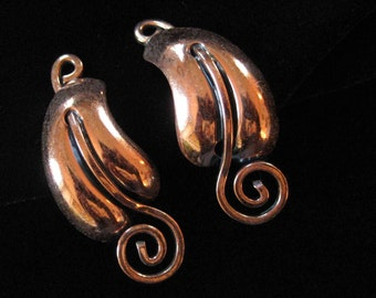 Copper Earrings, Leaf and Spiral Design