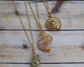 YOU CHOOSE Seashell Ocean Necklace mermaid beach gold edged bohemian boho gypsy womans jewelry