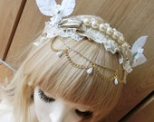 Lace & pearls headress