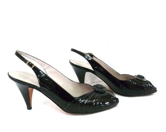 Vintage shoes Black Leather Chantal Made in Italy Pump Heel Peep Toe Sling Sandals Women Size 7.5