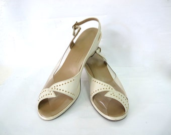 Vintage 50 shoes Clear Plastic Marcasite Studs Cream Leather Penaljo Peep toe Wedge hill Sandals Size 8.5