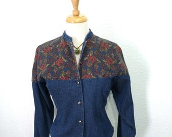 Vintage 70s Denim Jacket Wrangler Jean Jacket Blue Button Up Floral design Small