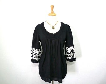 Black Blouse Cotton tunic Boho Bohemian 3/4 Sleeve Embroidered Maternity shirt top XL