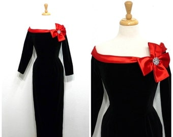 Lillie Rubin Black Velvet and Red Bow Rhinestone Dress 60s Off Shoulder Evening Gown Small