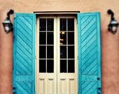 """New Orleans French Quarter Door Photograph """"Orleans"""". Mardi Gras. Bright Turquoise Blue Shutters. 8x10, 11x14, 16x20, 20x24, 24x30, 24x36"""
